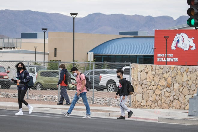 Las Cruces High School students walk off campus after school on Friday, April 16, 2021, in Las Cruces.