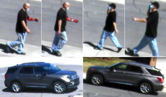Las Cruces police are asking for help identifying the suspect in a shooting Wednesday, April 15, 2021. These still photos show him walking to and from the home where the shooting occurred. The Ford Explorer pictured is the vehicle that picked up the suspect.