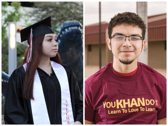 Two Gadsden ISD seniors, Jazlyn Montiel, left, and Juan Diaz, received the Daniels Fund Scholarship in April 2021.