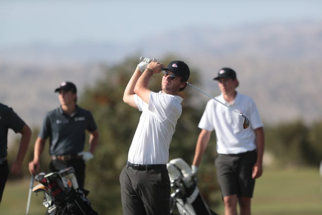 Palm Desert's Chris Wardrup tees off on hole 6 on Thursday, April 15, 2021, against Xavier Prep at Classic Club in Palm Desert, Calif.