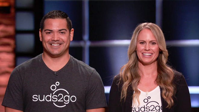 Gabe and Cindy Trevizo filming Shark Tank, featuring their portable handwashing system, Suds2Go.