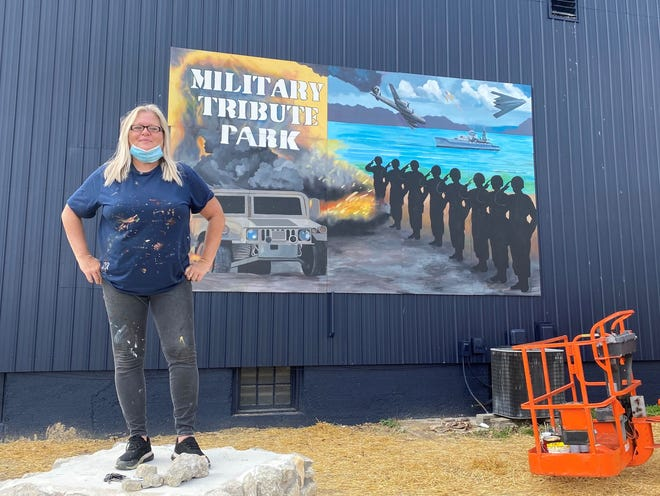 Pamela Bliss painted a mural for the new Military Tribute Park in Union City, Ind.