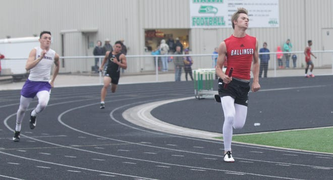 Ballinger High School's Luke Rollwitz runs a leg on the Bearcats 4x200-meter relay during the Districts 5/6-3A Track and Field Meet Thursday, April 15, 2021, in Wall.