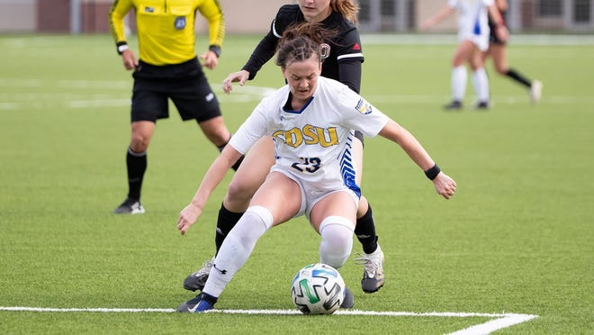 SDSU's Eden Brooker makes a move Thursday against Omaha in the Summit League tournament