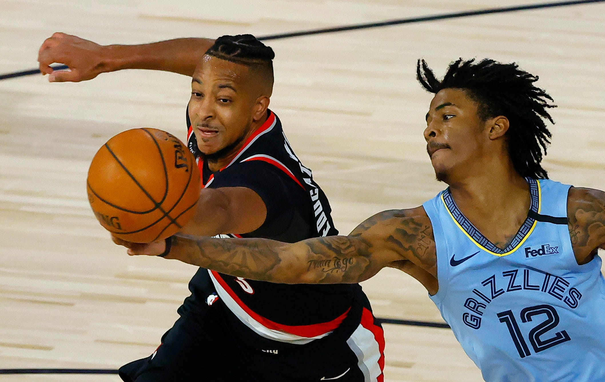 In the first playoff play-in game in NBA's history last August, the eighth-seeded Trail Blazers beat the No. 9 Grizzlies in a thriller to advance into the playoffs.