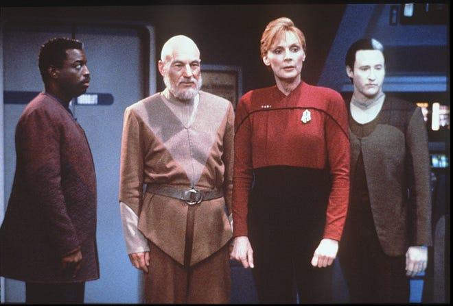 "A scene from the final episode of ""Star Trek: The Next Generation"" with LeVar Burton, Left, Patrick Stewart, Gates McFadden, Brent Spiner."