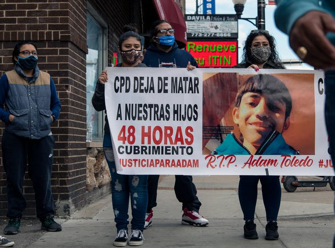 A protest in Chicago follows the fatal shooting of Adam Toledo, 13, by a police officer March 29.  Body camera videos appear to show Adam's hands in the air when he was shot.