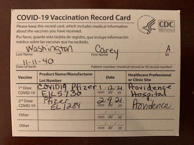 Carey Alexander Washington was vaccinated twice before catching COVID-19.