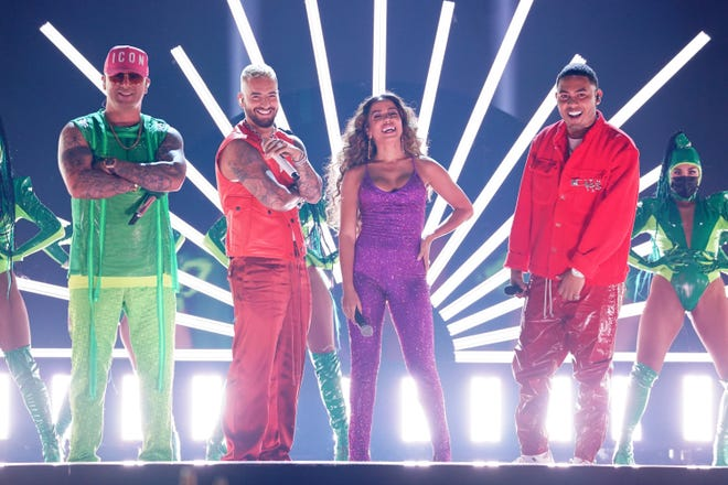 Wisin, left, Maluma, Anitta and Myke Towers performing at the Latin American Music Awards.