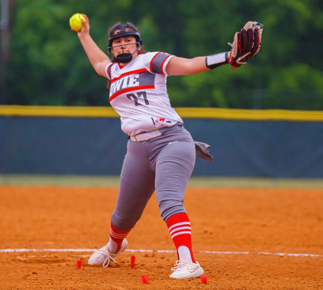Bowie pitcher Emma Solis gets ready to fire a pitch against the Lake Travis Cavaliers during the first inning at the District 26-6A softball game on Friday, April 16, 2021, at Oak Hills Youth Sports. Solis threw a shutout in the Bulldogs' 10-0 win.