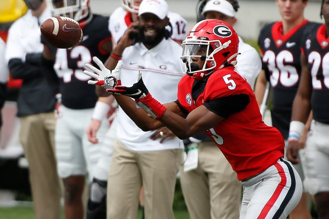 Georgia wide receiver Adonai Mitchell (5) brings in a pass for a catch during the Georgia G-Day Spring football game in Athens, Ga., On Saturday, April 17, 2021. (Photo/Joshua L. Jones, Athens Banner-Herald)
