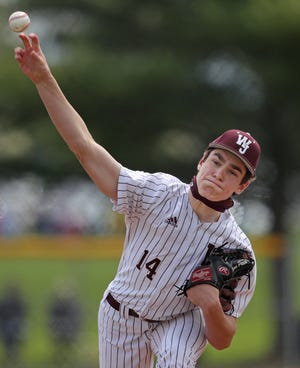 Walsh Jesuit starter Ryan Piech pitches during the Warriors' 2-1 win over CVCA in the final of the Cuyahoga Falls City Baseball Classic on Saturday at Walsh. [Jeff Lange/Beacon Journal]