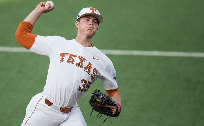 Texas pitcher Tristan Stevens (35) throws against Houston in Austin on April 24, 2018.