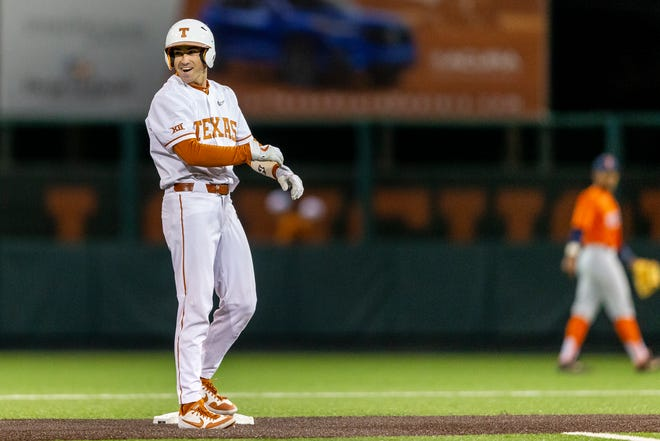 Texas infielder Murphy Stehly, seen in a 2020 game, went 2-for-3 with a double and three RBIs in the 18-0 win over Abilene Christian on Friday night.