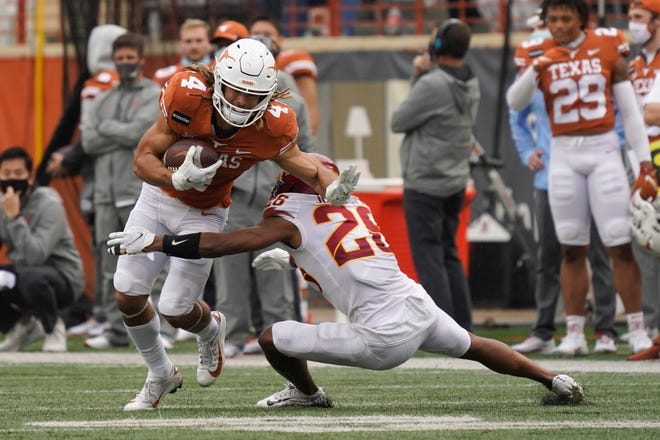 """Receiver Jordan Whittington """"showed up today"""" in UT's scrimmage Saturday, according to coach Steve Sarkisian. Whittington, fighting for yardage against Iowa State last season, is a potential big-play threat for the Longhorns."""