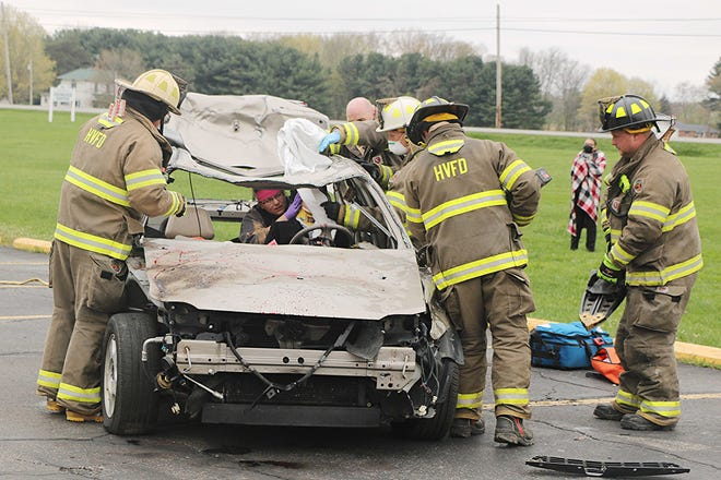 This wrecked vehicle was used for a mock DUI demonstration Friday at the Ashland County-West Holmes Career Center.