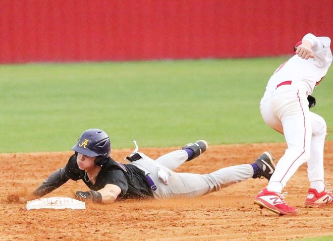 Anacoco senior Landry Alligood, seen here sliding into second base safely during a game against Tioga, had three hits and an RBI in leading the Indians to an 8-3 district win over Singer on Thursday.