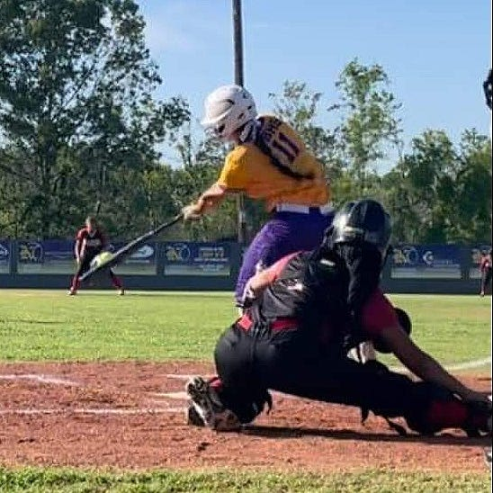 South Beauregard senior Makenna Rutherford connects on a pitch during a recent outing. Rutherford had two hits, including a double, with a run scored in the Lady K's win over Sulphur on Thursday.