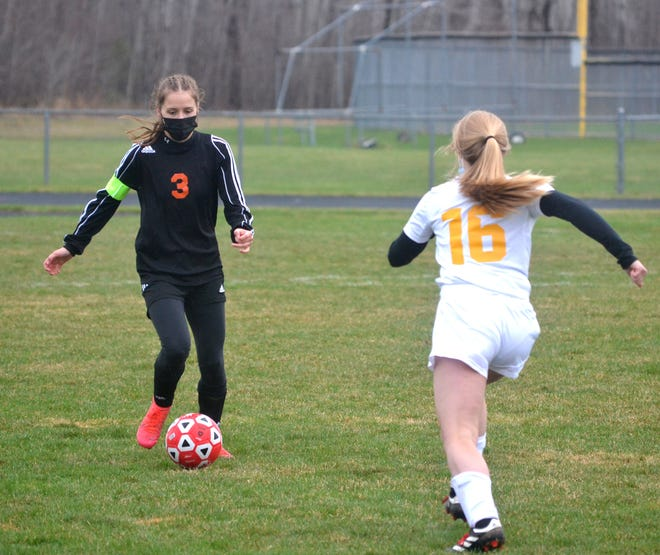Senior defender Natalie Gibbons (left) and the Cheboygan varsity girls soccer team improved to 5-0 overall on the season by capturing a 3-1 victory at Alpena on Friday night.