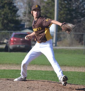 Pellston senior Nick Dankert throws a pitch during game one of a Ski Valley baseball doubleheader against Johannesburg-Lewiston in Pellston on Friday.
