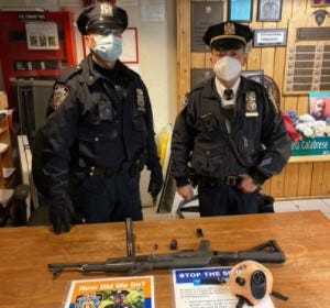 An AK-47, a loaded magazine and other gear that New York City police say was recovered from 18-year-old Saadiq Jovan Teague of Canal Winchester on Friday when he was taken into custody by New York City police officers Friday afternoon at a subway station.