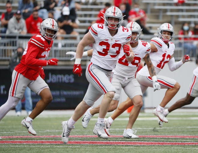 Defensive end Jack Sawyer (33) had three sacks in Ohio State's spring game on Saturday.
