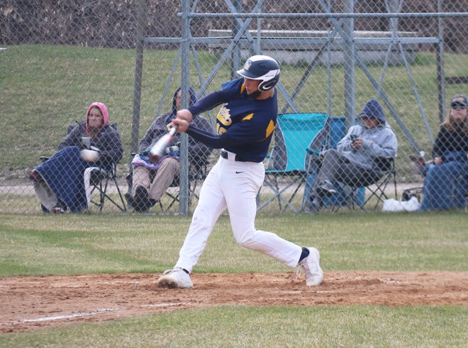Ethan Boll gets a hit against Red Lake County on April 16. Boll and the Pirates were swept in a doubleheader against Roseau Tuesday afternoon.