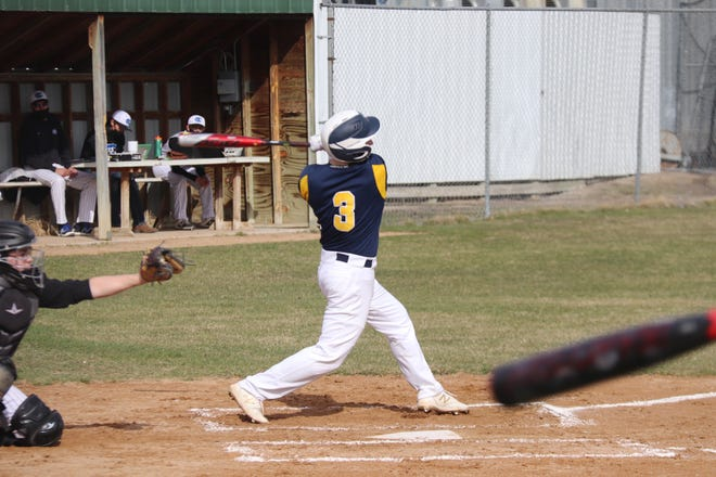 Jacob Miller in Crookston's season opener against Red Lake County on April 16. Miller and the Pirates continued their torrid start to the season Thursday against Fosston, scoring 18 runs and banging out 15 hits.