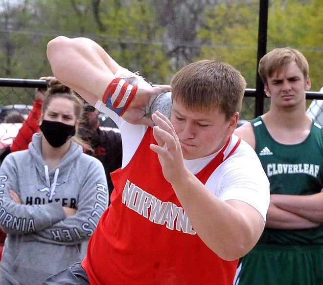 Norwayne Colby Morlock prepares to throw during the shot put. Morlock earned wins at the Orrville Invitational in the shot put and discus.