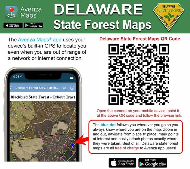 Visitors to Delaware state forests can now use a mobile phone to locate trails, hunting stands or parking areas using the Avenza Maps mobile app, available for iPhone or Android devices from the App Store or Google Play.