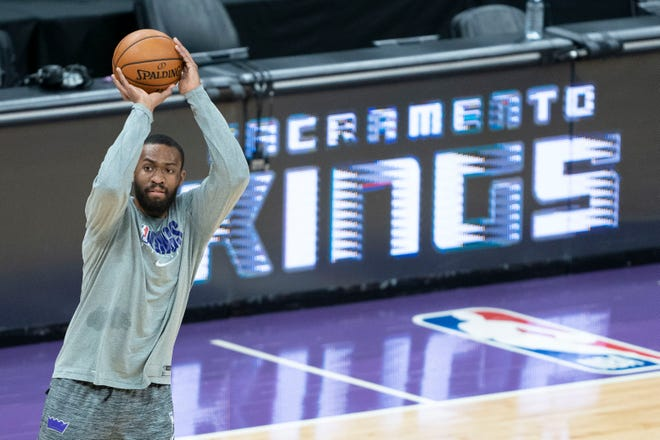 Former Sacramento Kings forward Jabari Parker shoots the basketball before a game against the Phoenix Suns at Golden 1 Center on Dec. 26, 2020. Parker reportedly signed a deal with the Celtics on Friday.