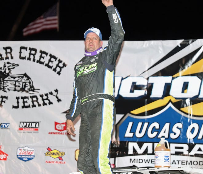 Brian Shirley waves to the fans after winning the 40 lap MLRA feature race Friday night at 34 Raceway.