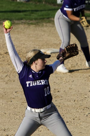 Iowa Wesleyan University's Morgan Christner (10) delivers a pitch during the second game of a double header against the University of Dubuque Tuesday April 13, 2021, at the Mapleleaf Athletic Complex in Mount Pleasant.