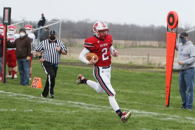 West Central High School's Max Carnes (2) scores a touchdown during their game against South Beloit High School Saturday April 17, 2021, at West Central High School in Biggsville.
