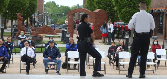 Several dozen people turned out as Hispanic Gastonia Police officers held a community event Saturday, April 17, 2021, at the Rotary Pavilion in Gastonia.