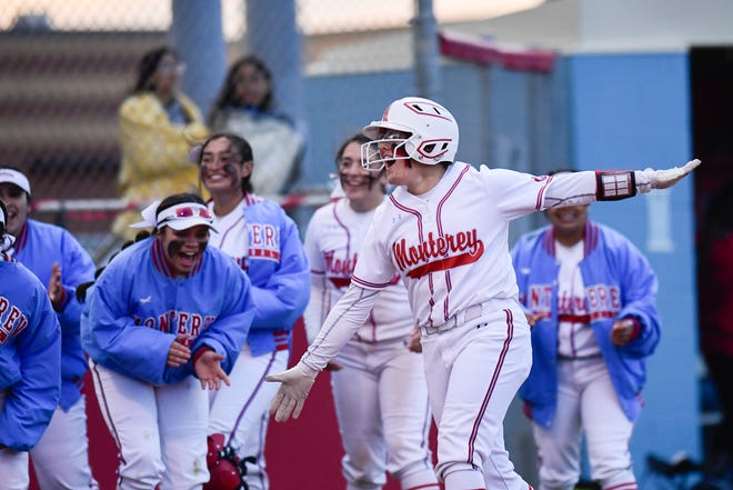 Monterey's Tatiana Trotter celebrates hitting a home run during an April 16 game against Coronado. Monterey plays in the Region I-5A quarterfinals this week against Abilene Wylie.