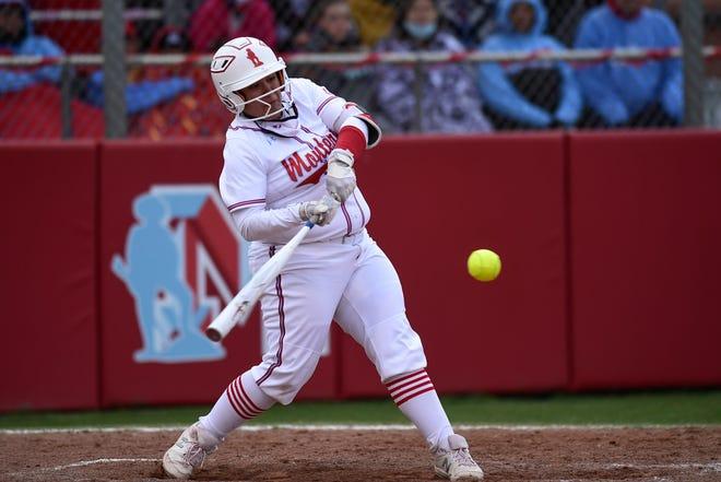 Monterey's Savannah Castilleja (23) hits a home run during a softball game against Coronado on Friday, April 16, 2021, in Lubbock, Texas. [Justin Rex/For A-J Media]
