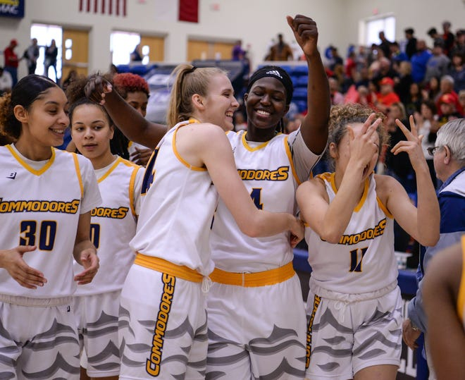 Gulf Coast State players celebrate their 68-62 victory over New Mexico Junior College in the championship game of the NJCAA Tournament two years ago at the Rip Griffin Center. The tournament starts again Monday at the Rip Griffin Center.