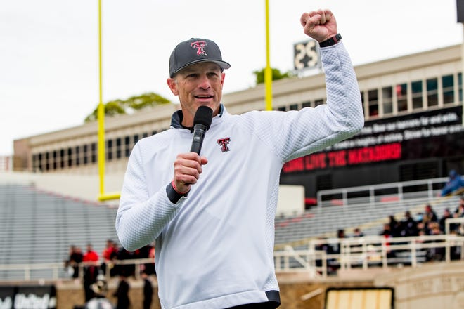 Texas Tech head coach Matt Wells addresses the crowd during their annual spring game on Saturday, April 17, 2021, at Jones AT&T Stadium in Lubbock, Texas.
