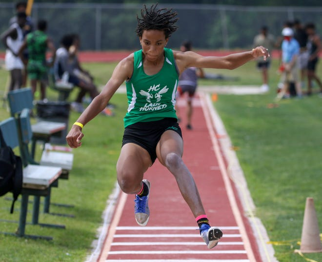 Haines City senior Aquila Kerr wins the triple jump on Friday at the Class 4A, District 5 track and field meet at George Jenkins High School.