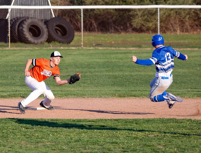 Summerfield shortstop Devin Albain waits to apply the tag as Ty Schroeder of Dundee slides into second base.