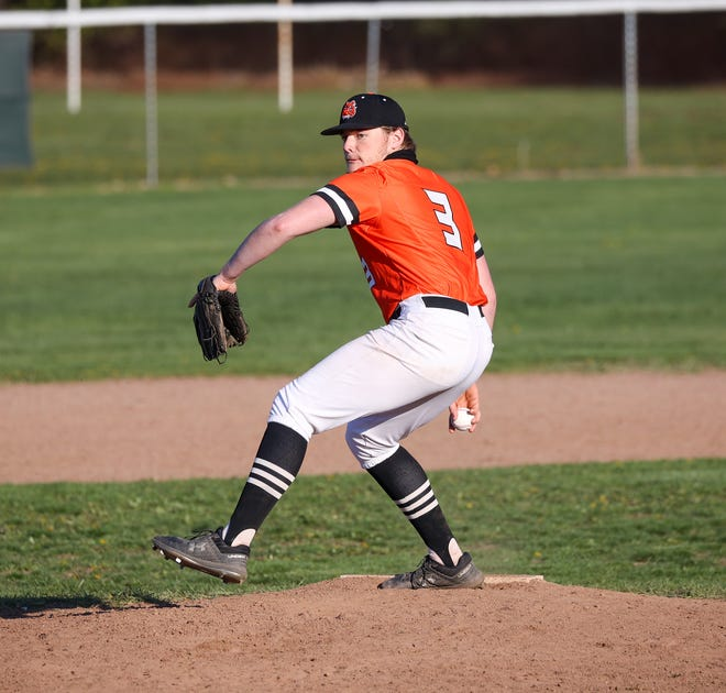 Ethan Eyler pitches for Summerfield against Dundee earlier this season.