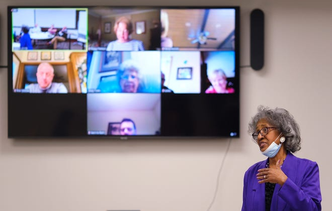 """Civil rights activist Joyce Henderson, a participant of the Oklahoma City sit-in movement, talks to an in-person and virtual class called """"Theology of the Civil Rights Movement"""" at First Presbyterian Church of Edmond."""