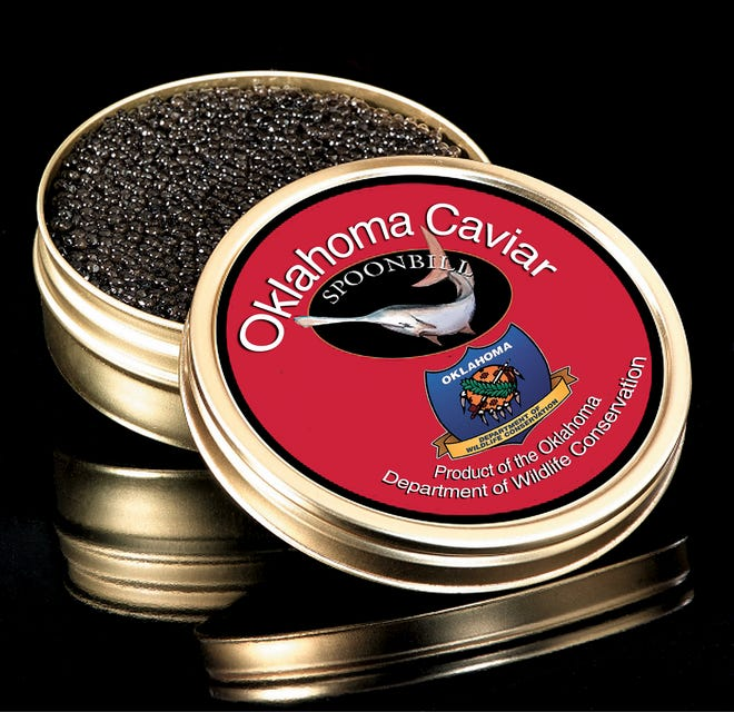 The Oklahoma Department of Wildlife Conservation is still making and selling caviar from angler-caught paddlefish, but the demand and price has declined in recent years. The branding logo in this photo was created by The Oklahoman's graphics department, and it was not used by the Wildlife Department. The agency sells the caviar to wholesalers and not directly to the public.