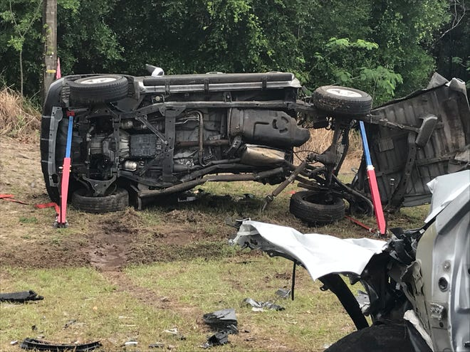 The driver of this pickup truck was killed Saturday morning on U.S. 441 South. The vehicle crossed the grassy median and struck an SUV. The truck had no other occupants.