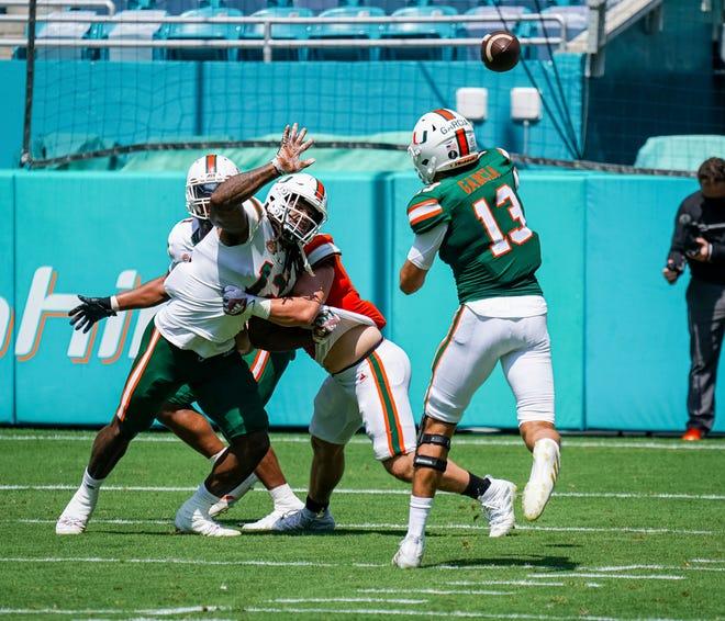 Freshman quarterback Jake Garcia makes a throw during Miami's spring game Saturday at Hard Rock Stadium. [Tim Brogdon/Miami Athletics]