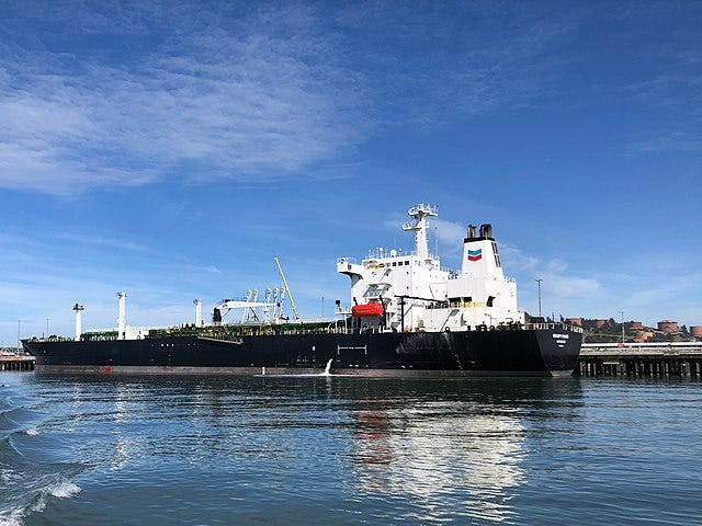 Chevron oil tanker ship (Mississippi Voyager) in Richmond, California.