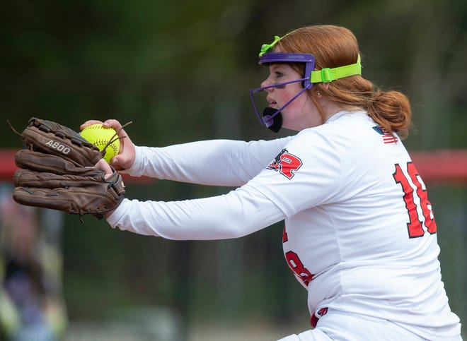 Ashley Legg, who allowed a single unearned run over seven innings Monday, tosses a pitch against Rootstown earlier this season.