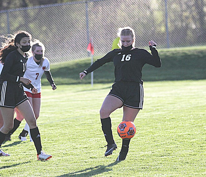 Emily Herman of Sturgis settles a ball down against Coldwater in prep soccer action Friday evening.