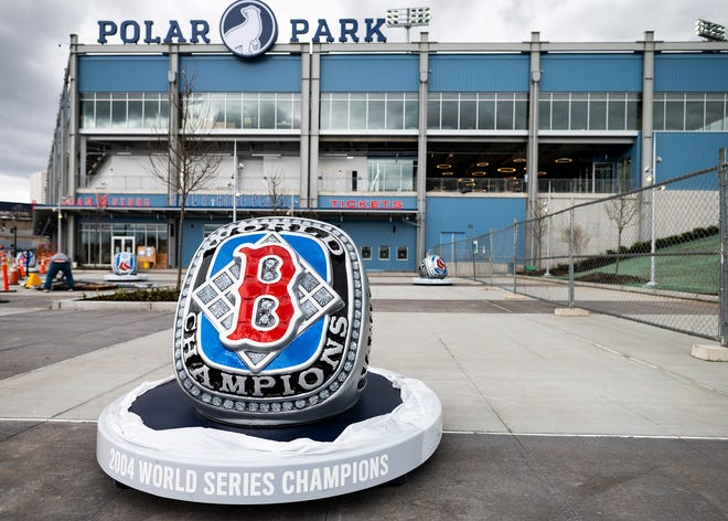 WORCESTER - Replicas of the Red Sox World Series rings have been placed outside Polar Park.
